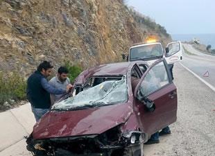 Araç takla attı, 2 kişi yaralandı
