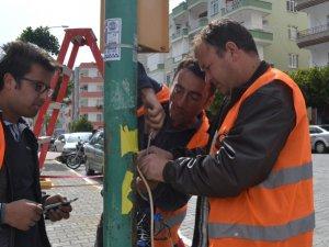 Anamur'da trafik lambalarında bakım çalışması yapıldı