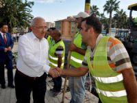 Başkan Kocamaz, Anamur'da asfalt çalışmalarını inceledi